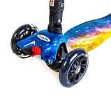 Самокат детский Maxi складной руль колеса светяться. Вселенная., фото 4