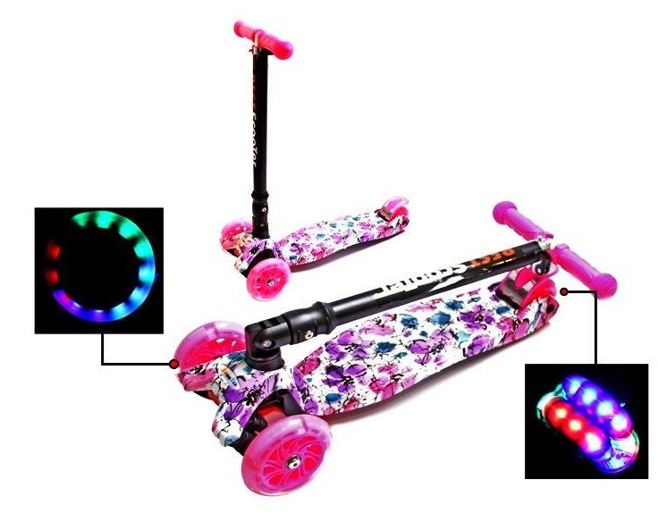 Самокат трехколесный детский Maxi складной руль колеса светяться. Flowers.