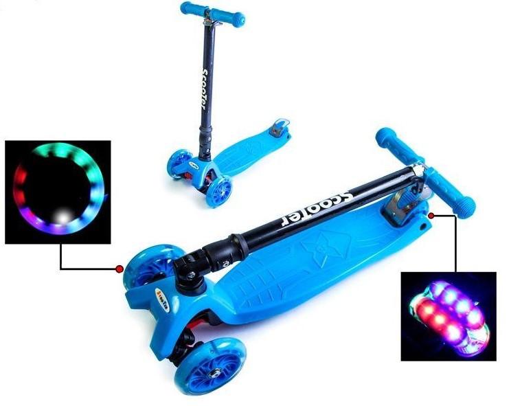 Самокат трехколесный детский Maxi складной руль колеса светяться. Blue.