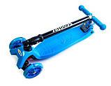 Самокат детский Maxi складной руль колеса светяться. Blue., фото 3