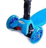 Самокат детский Maxi складной руль колеса светяться. Blue., фото 4
