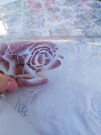 Прозрачное Мягкое стекло с лазерным рисунком Серебряных роз, толщина 800 мкм, фото 2