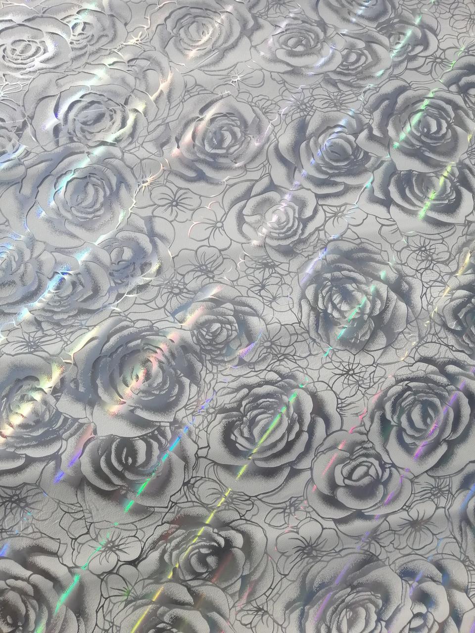 Прозрачное Мягкое стекло с лазерным рисунком Серебряных роз, толщина 800 мкм
