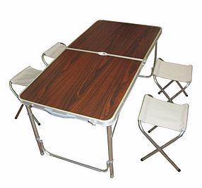 Стол для пикника  с 4 стульями Folding Table 120х60х55/60/70 см (деревянный)