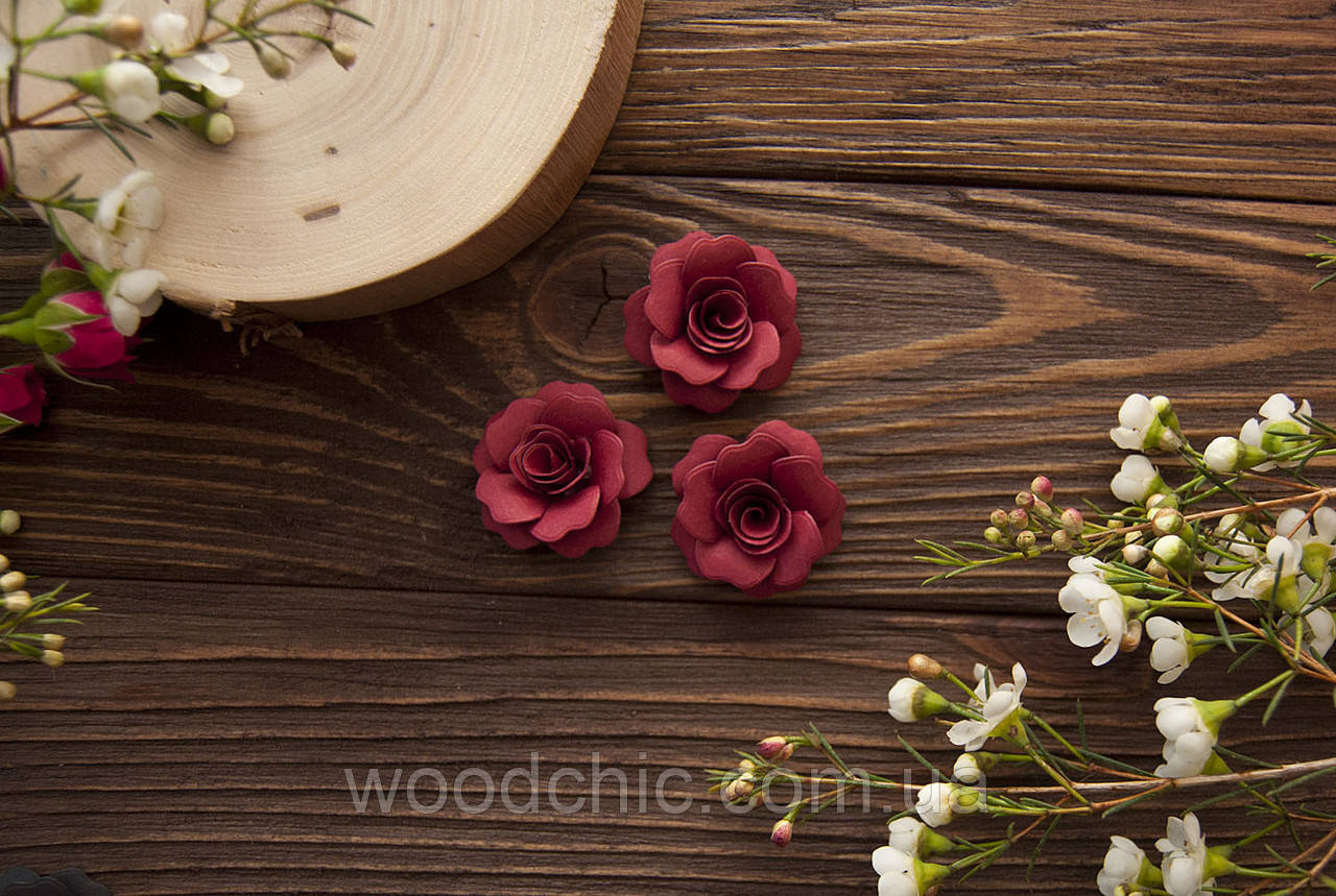 Набор Бумажные розы 107 бордо