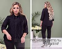 Блуза-рубашка нарядная рукав три четверти декорирована кружевом софт 50,52,54,56
