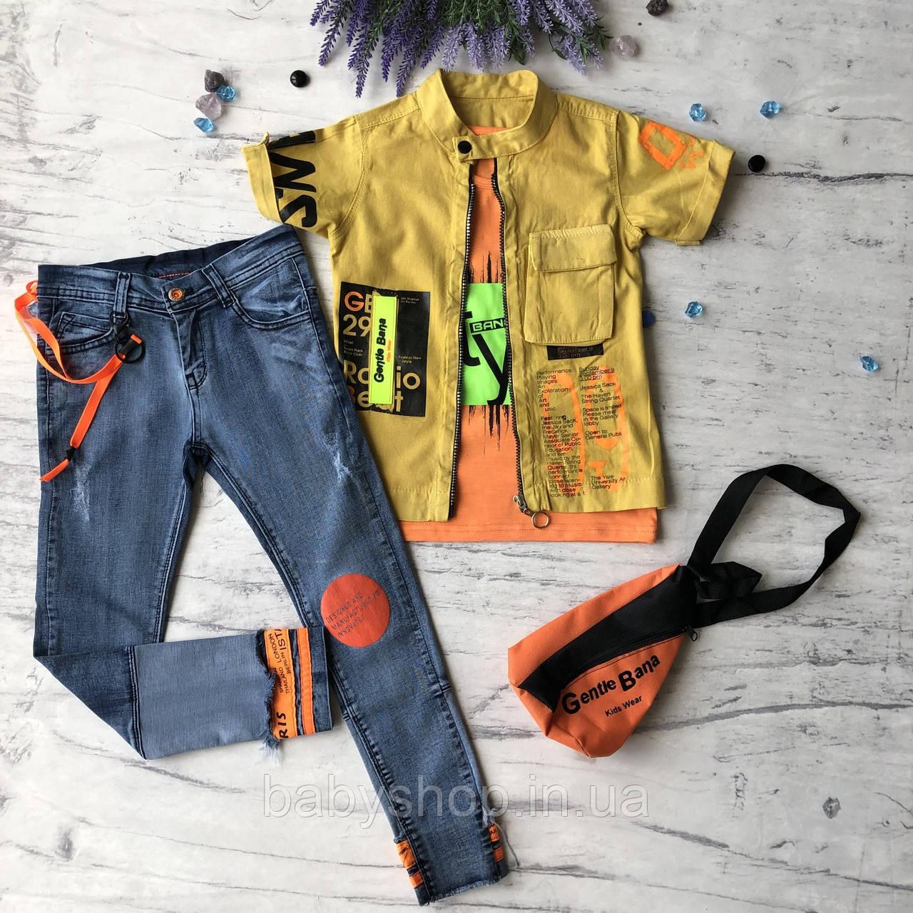 Летний джинсовый костюм на мальчика 8. Размер 6 лет