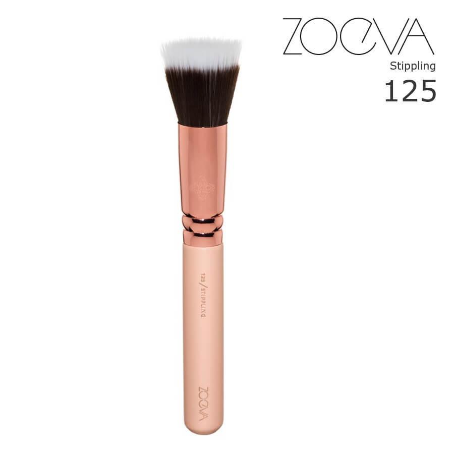 Кисть дуофибра Zoeva 125 для основы и пудры Rose Golden