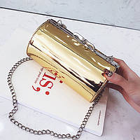 Золотая лаковая сумка кроссбоди