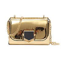 Золотая лаковая сумка через плечо