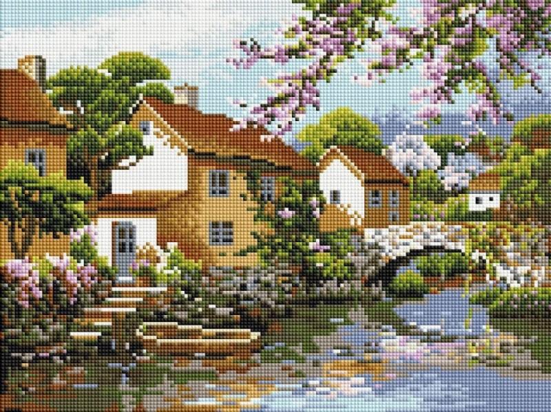 """Набір алмазної мозаїки """"Будиночок на березі"""" (30 х 40)"""