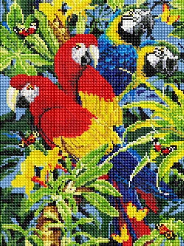 EF-299 Папуги. Набір алмазної мозаїки (30 х 40)