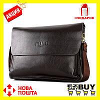Мужской портфель через плечо Polo Videng A4! Большая мужская сумка