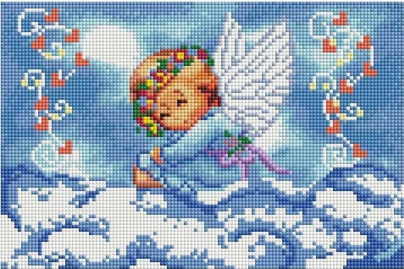 CF-194 Ангелик на хмаринці. Набір алмазної мозаїки (20 х 30)