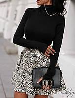 Женская кофта джерси чёрный красный марсала 42-46