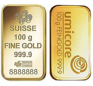 Слиток золота 100 грамм БЕЗ УПАКОВКИ