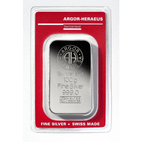 Слиток серебра 100 грамм Argor-Heraeus