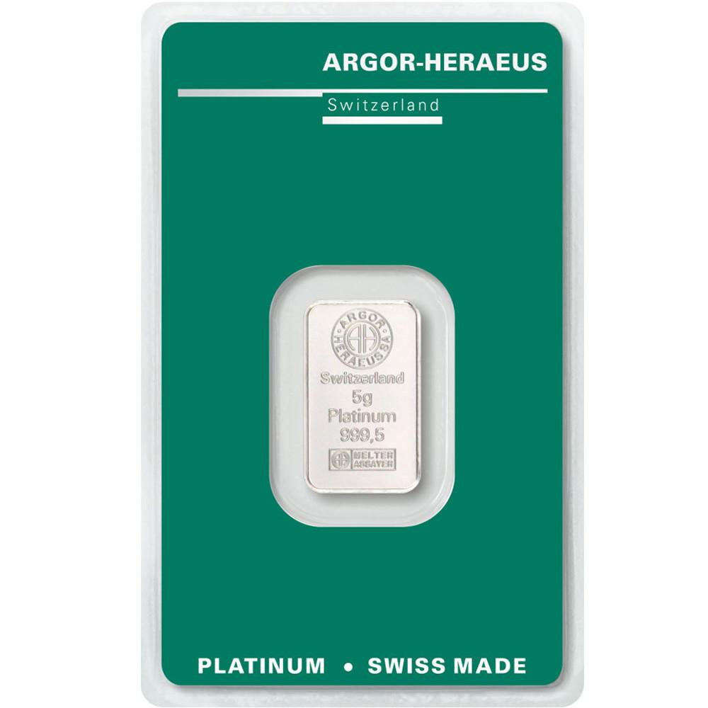 Слиток платины 5 грамм Argor-Heraeus (НОВЫЙ)