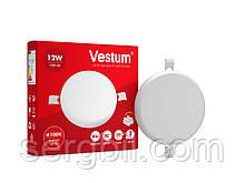 """Круглий світлодіодний врізний світильник """"без рамки"""" Vestum 12W 4100K 1-VS-5503"""
