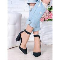 Женские натуральные замшевые открытые черыне туфли на высоком каблуке с ремешком  Bogemiya, фото 1