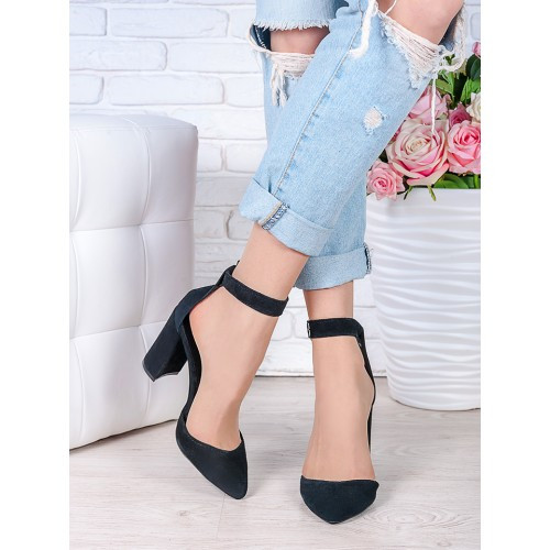Женские натуральные замшевые открытые черыне туфли на высоком каблуке с ремешком  Bogemiya