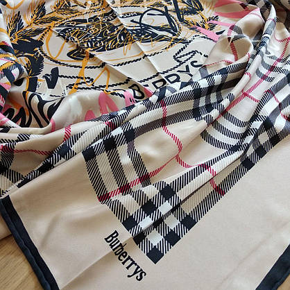 Платок Burberry шелковый с ручной подшивкой, фото 3