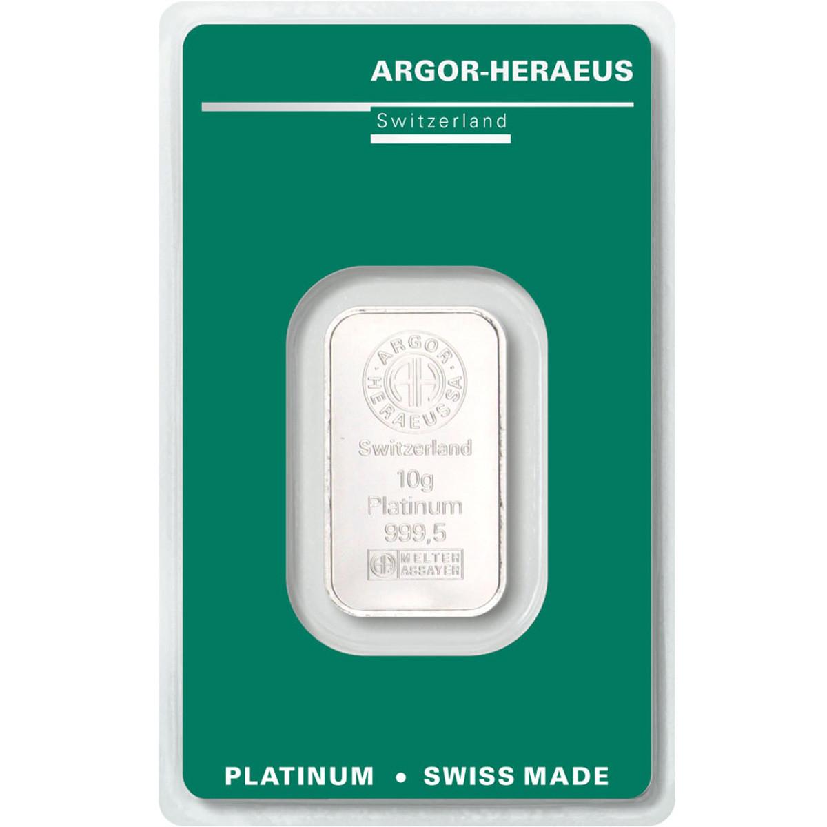 Слиток платины 10 грамм Argor-Heraeus (НОВЫЙ)