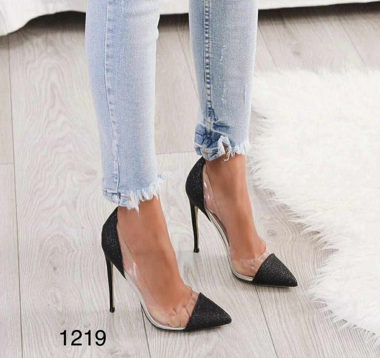 Чорні жіночі туфлі з силіконом,нарядні