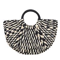 Плетеная сумочка черно-белая полукруглая