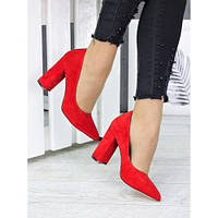 Шикарные женские натуральные замшевые красные туфли лодочки на толстом каблуке, фото 1