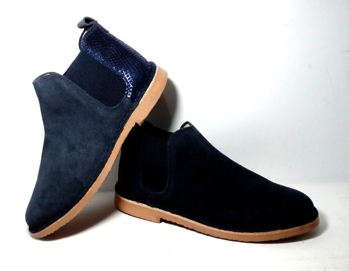 Женские замшевые ботинки Челси демисезон синие