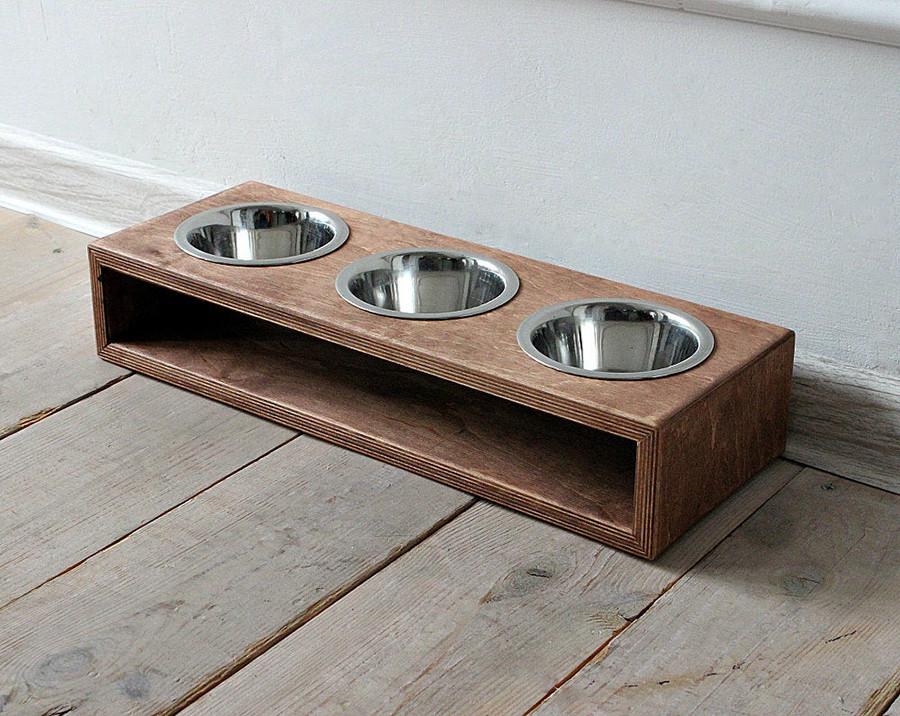 КІТ-ПЕС by smartwood Миска на підставці | Миска-годівниця металева для собак цуценят S - 3 миски 200 мл
