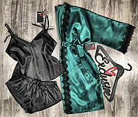 Атласный комплект тройка  Халат+пижама ( майка с шортами)