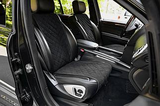 Накидки, чехлы на сидения автомобиля Алькантара стиль, Черные, Широкие, фото 2