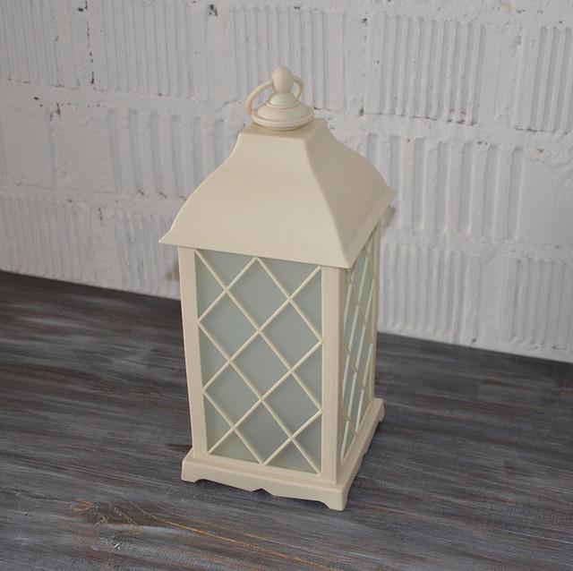 Декоративный фонарь с LED свечей, матовое стекло