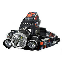 Фонарик налобный фонарь 3 LED лампы Bailong RJ 3000 T6, фото 1