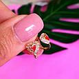 Золотые серьги для девочки Клубничка - Детские золотые серьги с эмалью, фото 4
