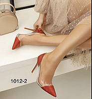 Красные блестящие туфли женские