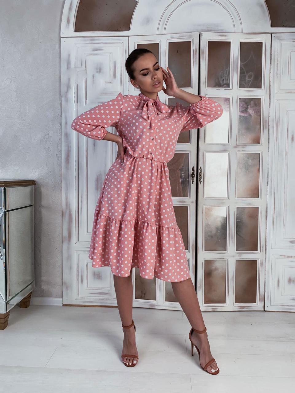 Платье Лайма розовый горох, 44