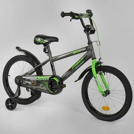 """Велосипед 18"""" дюймов 2-х колёсный  """"CORSO"""" EX-18 N 3305 (1) СЕРЫЙ, СТАЛЬНАЯ РАМА, ручной тормоз, звоночек,"""