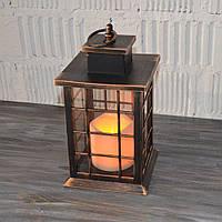 Декоративный фонарь, светильник с LED свечей, бронза (26*14*14 см.), фото 1