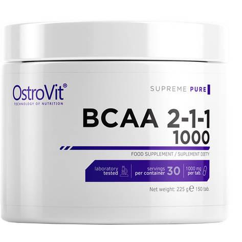 Аминокислоты ВСАА в таблетках 2:1:1 Ostrovit 1000 150 таб, фото 2