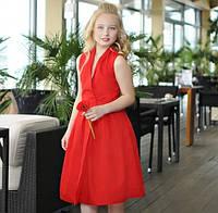 Платье летнее детское красное на запах девочке рост 134-176