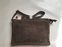 Женский замшевый клатч сумочка кофейного цвета через плечо кроссбоди Pretty Woman