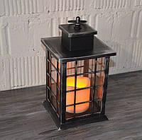 Декоративний ліхтар, світильник з лэд свічок, срібло (26*14*14 див.), фото 1