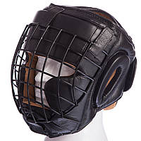 Шлем для единоборств с металлической решеткой кожаный