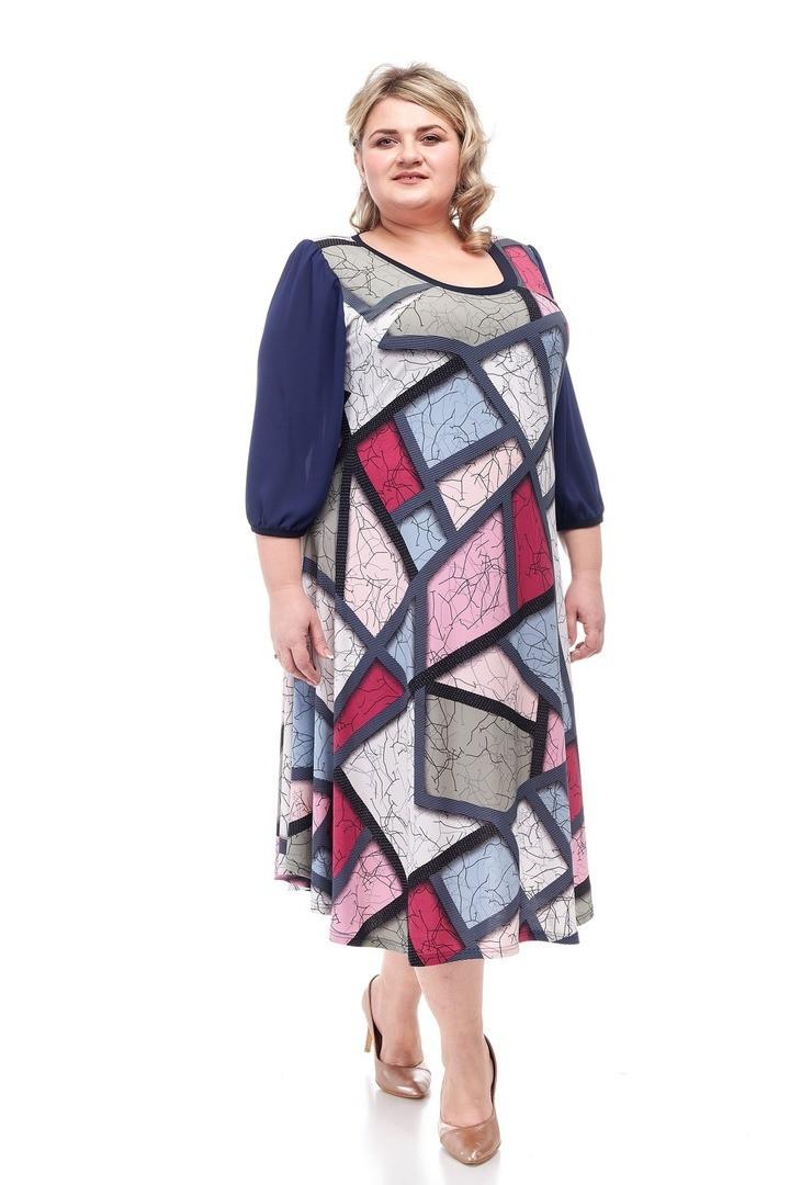Красивое женское платье батал Венера 4 цвета (62-68)