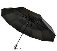 Зонт мужской полуавтомат с большим куполом 119 см Feeling Rain черный. Анти-ветер, 10 спиц (764)