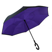 Ветрозащитный зонт обратного сложения Up-Brella фиолетовый. Зонт наоборот (обратный зонт, антизонт).
