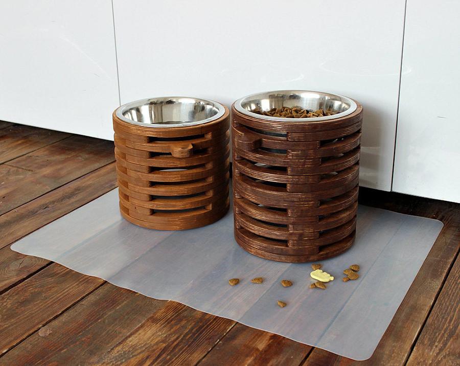 КІТ-ПЕС by smartwood Миска на підставці | Миска-годівниця металева для собак цуценят - 1 миска 1700 мл